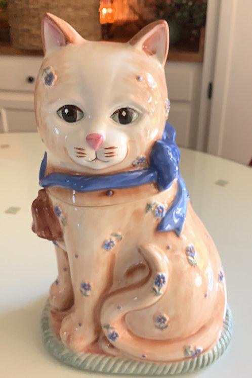 cat cookie jar, tabby cookie jar, poppies on cat? goodie holder