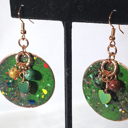 Enameled Copper Earrings Green by Tannis
