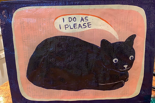 black cat bag, Blue Q, Water Resistant, Recycled Paper, I do as i Please
