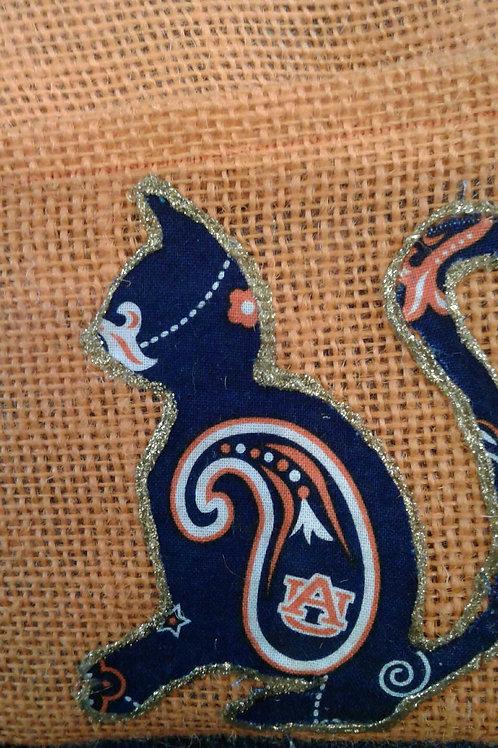 Auburn Cat Coffee Bean Burlap Upcycled Side Bag
