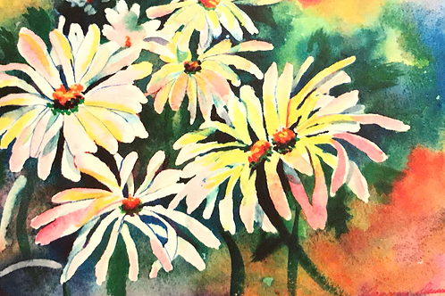 """""""DANCING DAISIES"""" Watercolor by Shery Polansky"""