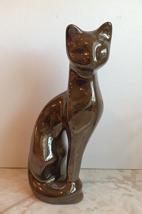 Bronze Ceramic Cat; Brown Cat Statue