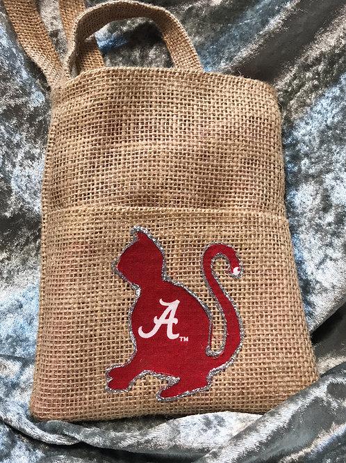 Alabama Cat Upcycled Coffee Bean Burlap Bag