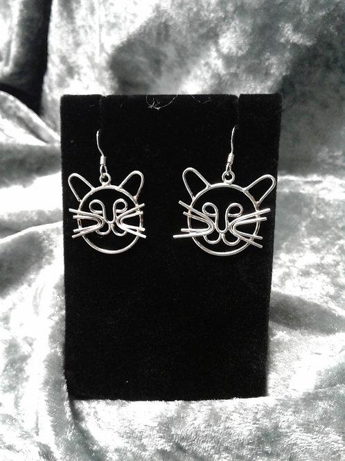 Antique Sterling Cat Face Earrings