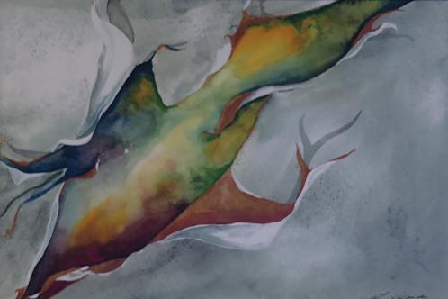"""SCRATCH OF LIFE"" Watercolor by Shery Polansky"