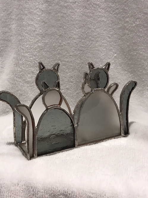 STAINED GLASS CAT NAPKIN HOLDER