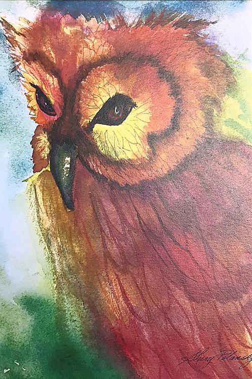 OWL II Watercolor Print by Shery Polansky