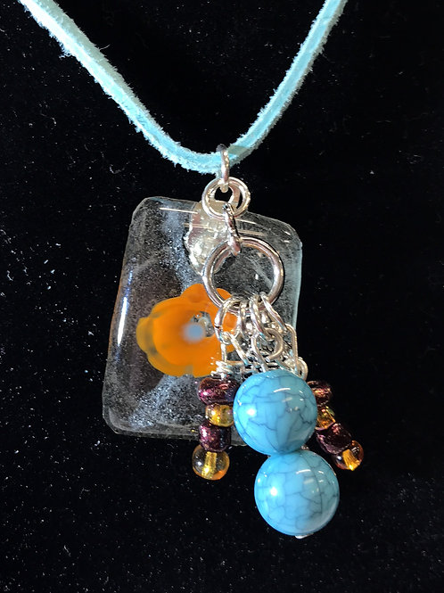 Fused Glass Floral Fun Necklace by Tannis