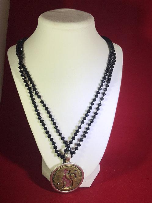 murano cat, de-tachable cat, cat necklace, black glass necklace