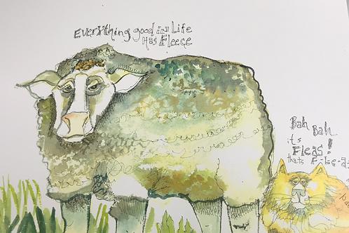 whimsical lamb, sheep, fleas, flea nightmare,