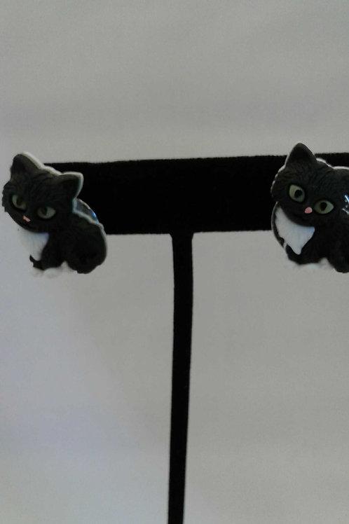 CLIP-ON Black Kitten Earrings