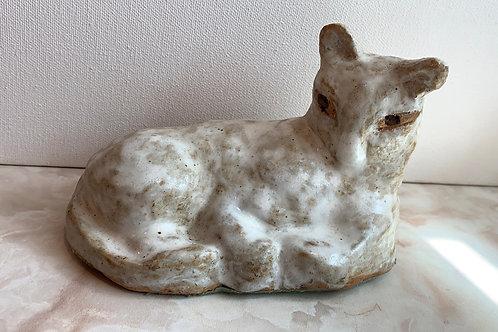 white glaze cat; unique clay cat