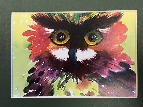 CONFETTI OWL Watercolor Print by Shery Polansky