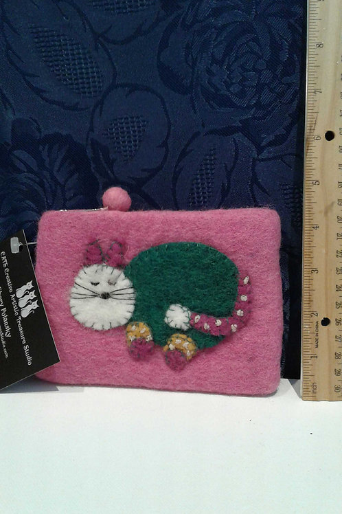 Felted Wool Cat PInk Coin Purse