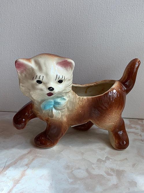 cat planter, cat vase; cat cotton ball  holder