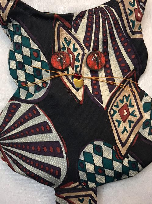 recycled tie, tie cat, cat tie, kitty tie, recycle tie cat, cat bag, tie bag