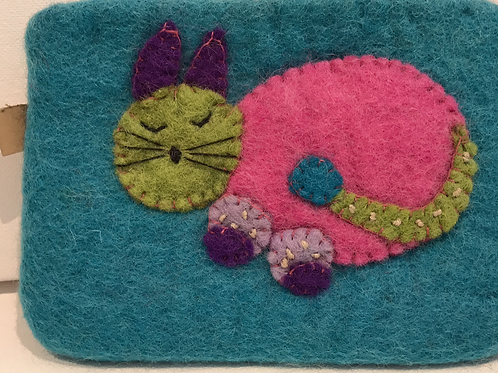 EMBROIDERED CAT PURSE, COIN PURSE, STUFF HOLDER