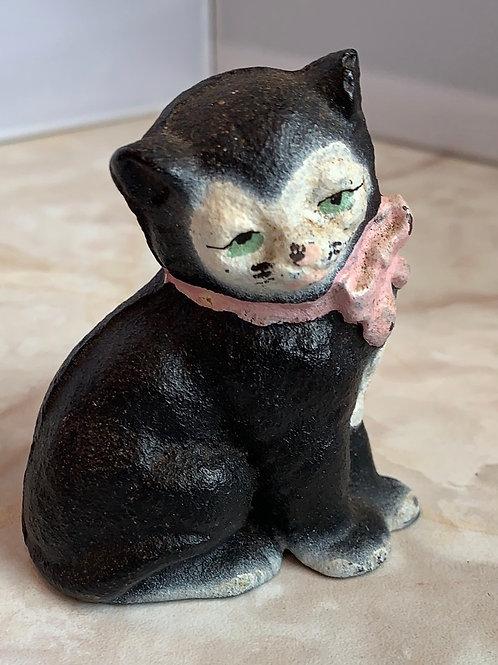 cat iron kitten, pink bow, cat paperweight