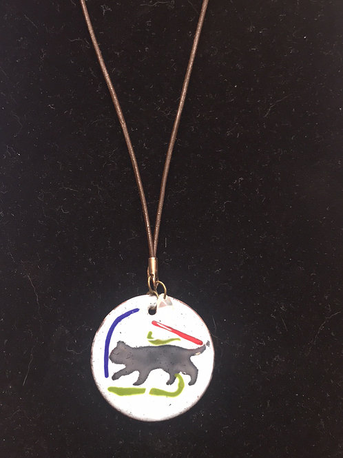 Enameled Glass Cat Pendant by Tannis