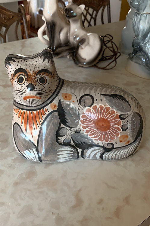 hand painted mexican pottery cat, grey cat, unique cat pottery