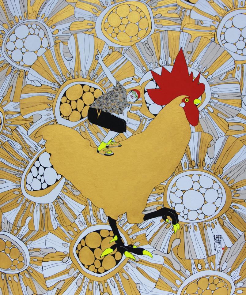 Lee Jae Eun, Eumeurak eum eum eum, 2020, Acrylic on Korean paper, 60 x 72 cm, $3,500