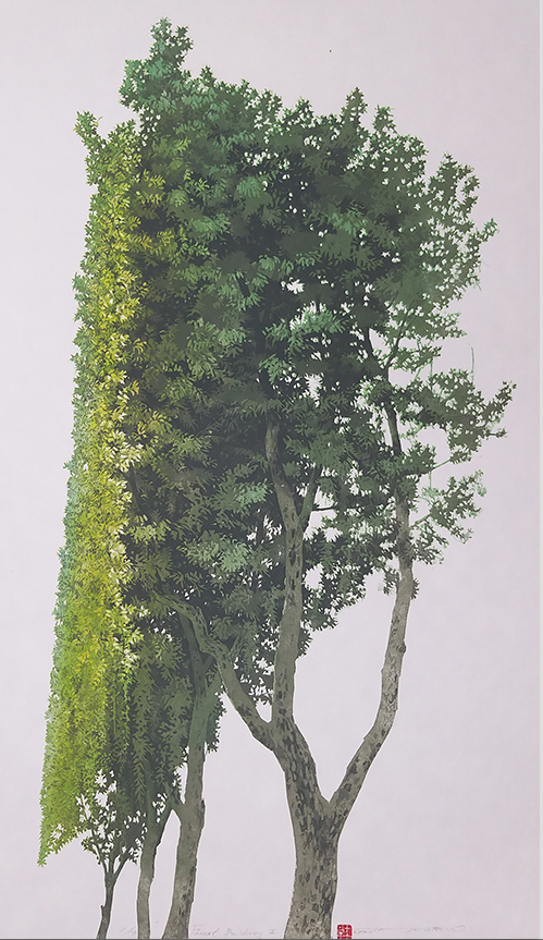 Ikjoong Hong, Forest building 2, 2020, Woodcut, 101 x 60 cm, $1,800 (1/3 edition)