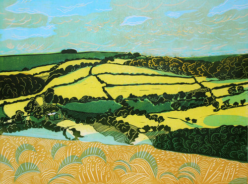 lino-print-fields-of-gold-luna-north-printmaker
