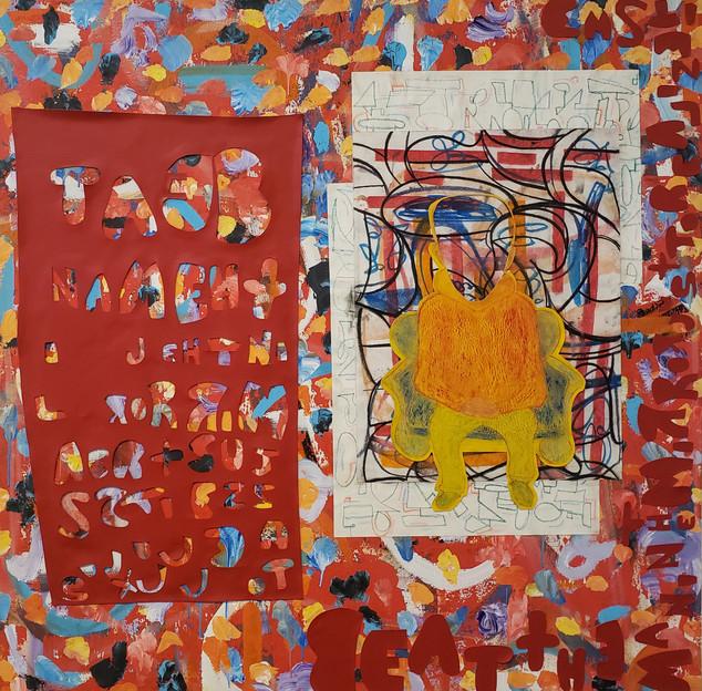 Eitan Barokas, Man in the mirror, 2019, Mixed media on canvas, 48 x 48 inches, $4,000