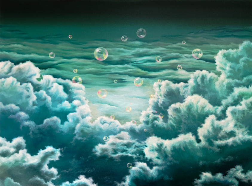 Hayoung Jung, The light between the gab, 2020, Oil & Acrylic on canvas, 30 x 40 in, $3,400