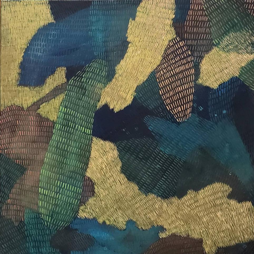 Taesook Jung, Vigorous Life 2063, 2020, Acrylic gouache on canvas, 18 x 18 inches, $1,800