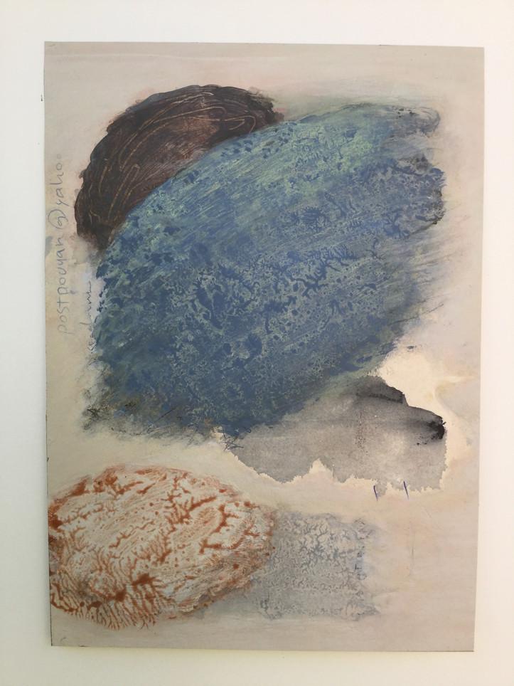 "Lloyd Elliott, Kind of Blue, Acrylic, ink on paper, 2019, 12 x 9"", $1,600"