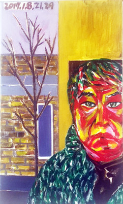 7. Self Portrait 3 Englewood, 2017, Acrylic on canvas, 12x20 inches