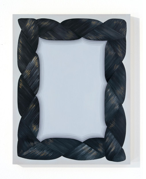 "Mary Laube, Shadowbox, Acrylic on panel, 2018, 14""x11"", $1,600"