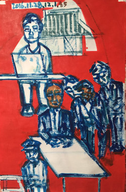 11. Protest holding cnadles III, 2016, Acrylic on dak paper, 27x40 inches