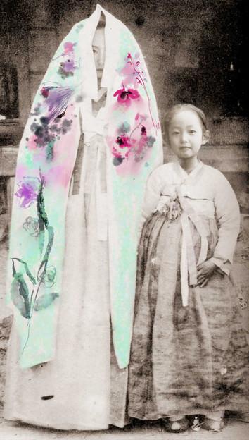 Namjoo Kim, Twins, self-portrait, 2020, 50 x 90 inches, Mixed media, $4,000