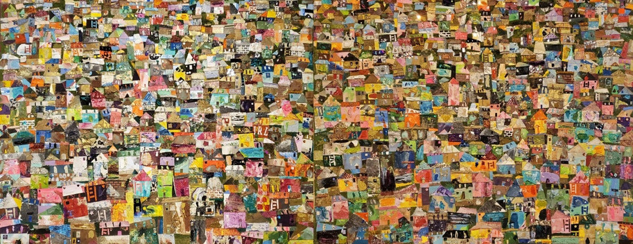 Jonghyun Kwon, Villages, 2020, 28 x 22 inches, Collage Mixed media, $3,000