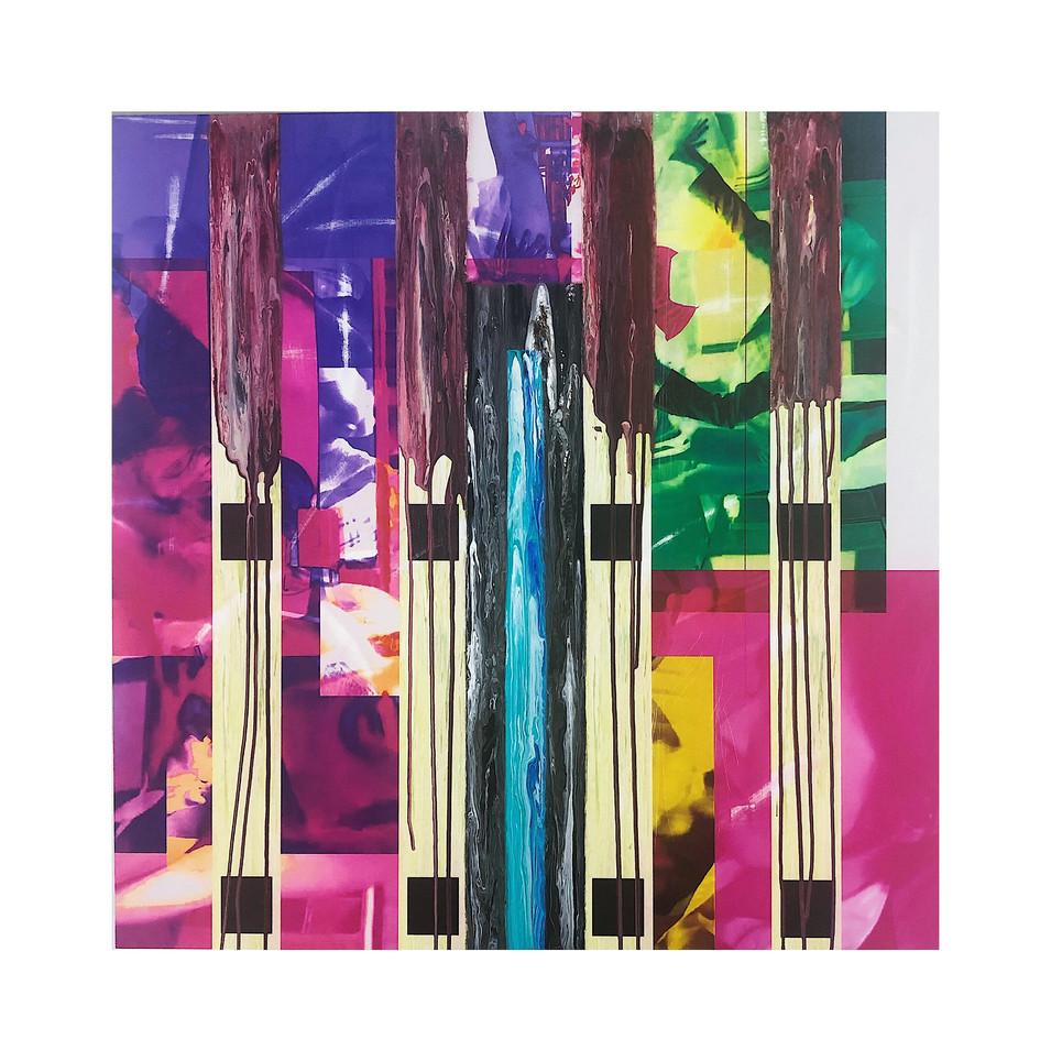 Hyun il Kim, L-5, 97 x 97 cm, mixed media on canvas, 2020, $3,500