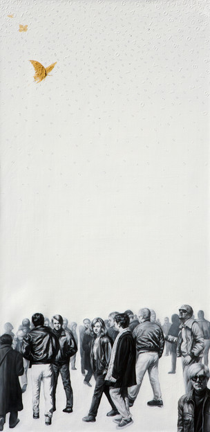 Hobong Kim, he Lack 2, - Dream, desire, oblivion, 2020, Oil on canvas,36 x 72 inches, $9,000