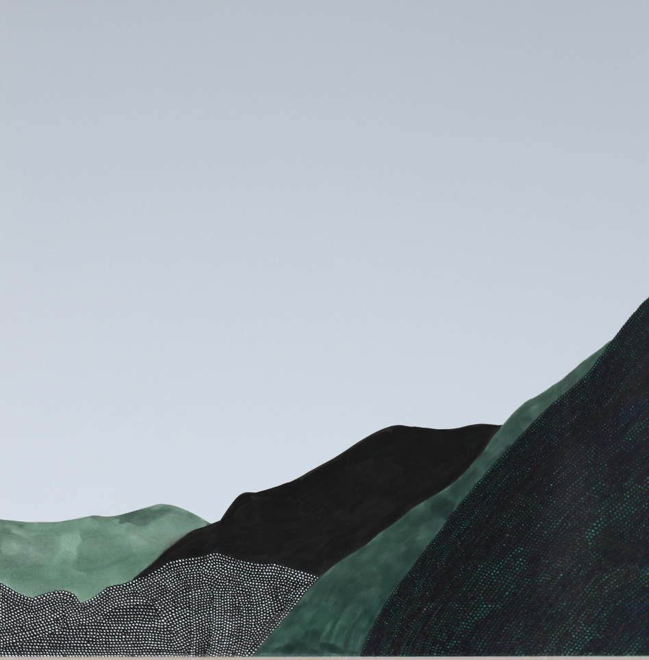 Hyewon Yoon, Mountains in Korea 2019_01  2019 10x10 inches  Pen on Panel  $500