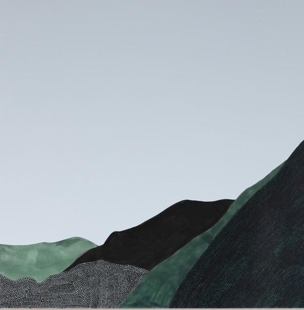 Hyewon Yoon, Mountains in Korea 2019_01  2019 10x10 inches  Pen on Panel  $500