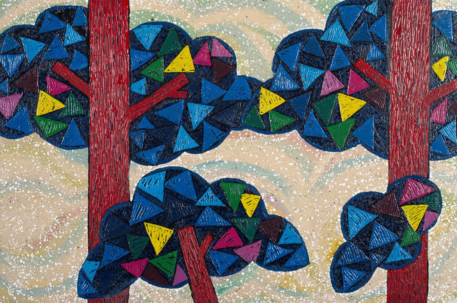 Young Sil Lee, Summer Tree in TongDoSa, 60x40cm, Koren painting