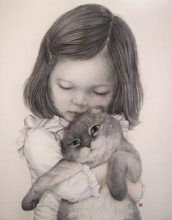 아기와 고양이_100x80cm_광목에 수묵담채_2020