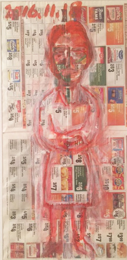 14. Woman I (Red), 2016, Acrylic on commercial paper, 13.5x24 inches