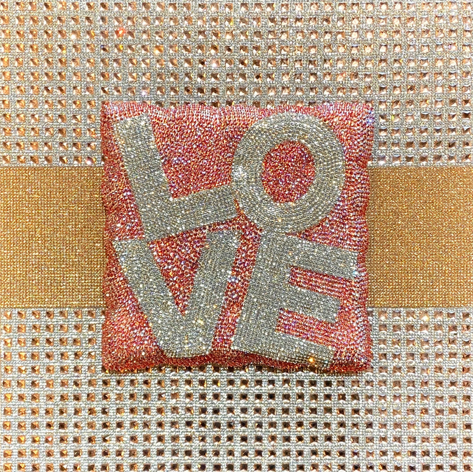 Ryan Cho, LOVE, Crystal on ceramic and acrylic board, 14 x 14 inches, $1,900