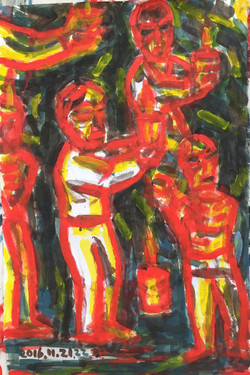 Protest holding cnadles I, 2016, Acrylic on dak paper, 27x40 inches
