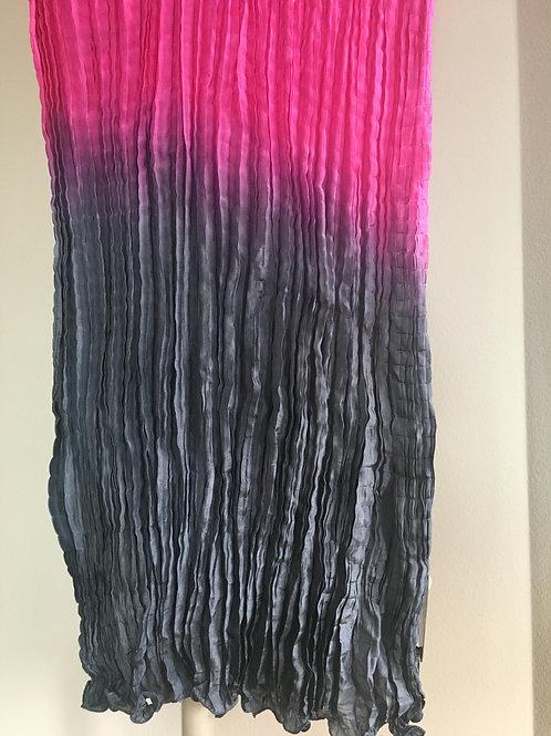 Pink n' Grey Ombre Silk Shiboori Scarf