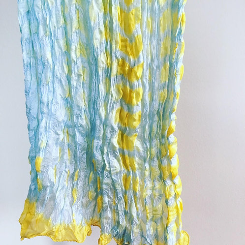 Yellow-Blue Rassi Silk Shiboori Scarf