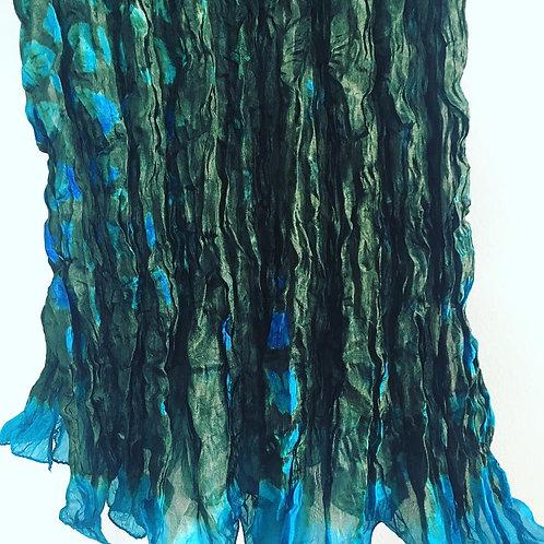 Green-Turquoise Rassi Silk Shiboori Scarf