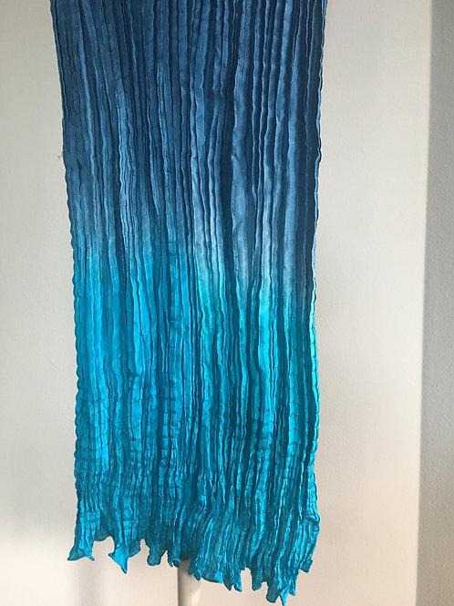 Turquoise Ombre silk Shiboori Scarf