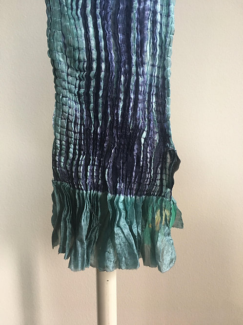 Blue and Teal Silk Shiboori Scarf